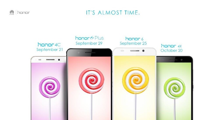 """Huawei Honor 4X 4C 6 6 Plus Android Lollipop update in india"""