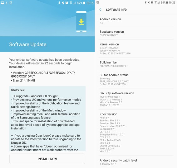 """Android 7.0 (Nougat) update for Galaxy S7 and Galaxy S7 edge"""