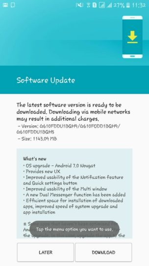 """Nougat update for Samsung Galaxy J7 Prime"""