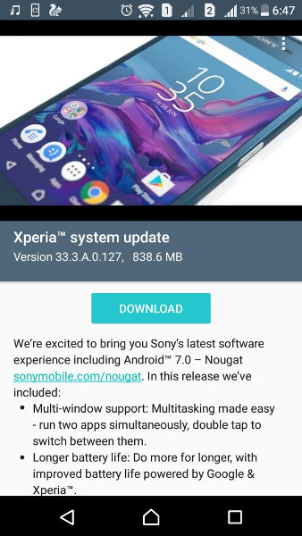 Sony Xperia XA starts receiving Android 7 0 Nougat update